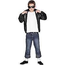 Medium Age 7-9 Black with Logo Men Smiffys Grease T-Birds Jacket