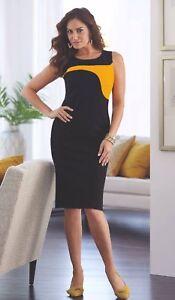 e2c322d6b3df Image is loading Midnight-Velvet-Black-Yellow-Gold-Sheath-Dress-Dinner-
