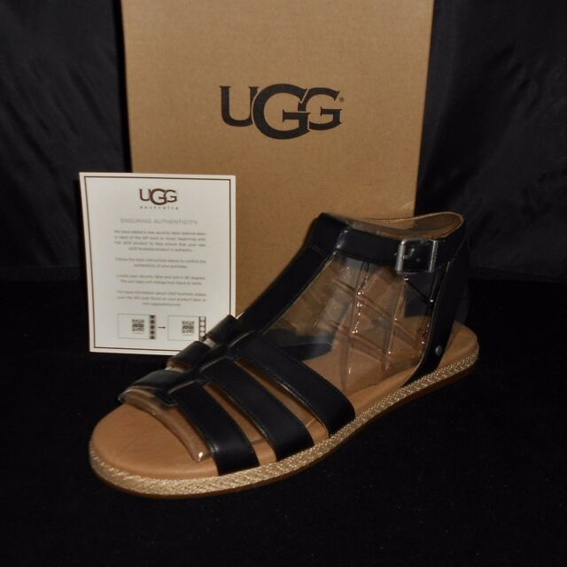 UGG WOMEN'S BLACK LANETTE SANDAL SIZE 10 NEW IN BOX