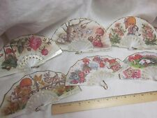 6 HAND HELD FAN Ladies Girl Sweet Pocket Purse NOS Spain Joan Lot Cat Dog Fabric
