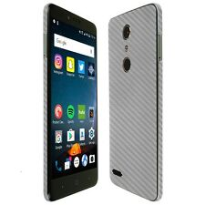 Skinomi Silver Carbon Fiber Skin+Clear Screen Protector for ZTE ZMax Pro