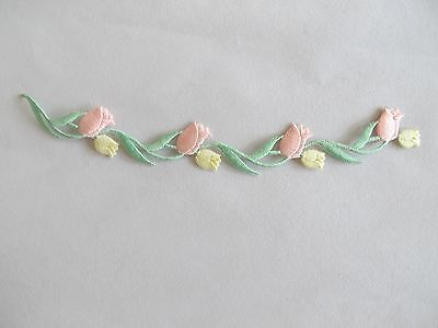 "#3951 7-3/4"" Pink,yellow Flower W/green Leaves Embroidery Iron On Applique Patch"
