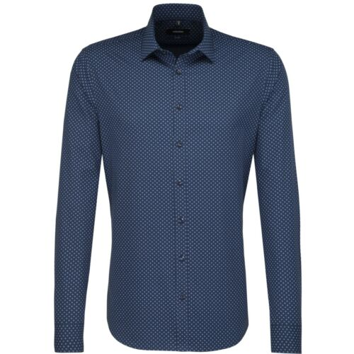 Seidensticker Herren Langarm Hemd Tailored Print ELA blau Struktur 246905.18