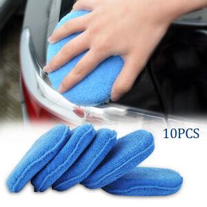 10-x-Microfibre-Eponge-Polissage-Lavage-Nettoyage-Cire-Auto-Voiture-BM