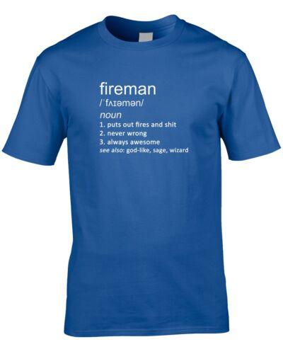Fireman definición para hombres Camiseta idea regalo genial trabajar trabajo ocupación Bombero