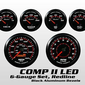 C2-Redline-6-Gauge-Set-Black-Bezels-0-90-Ohm-Fuel-Level-Electric-Speedo