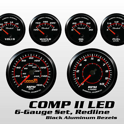 C2 Redline 6 Gauge Set, Black Bezels, 73-10 Ohm Fuel Level, Electric Speedo  | eBay