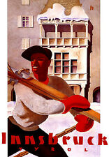 Innsbruk Tyrol  Austria  Ski Travel Vacation A3 Art Poster Print