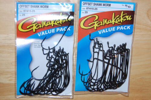 2 packs gamakatsu offset shank worm hook size 5//0  07415-25 25 per pack value