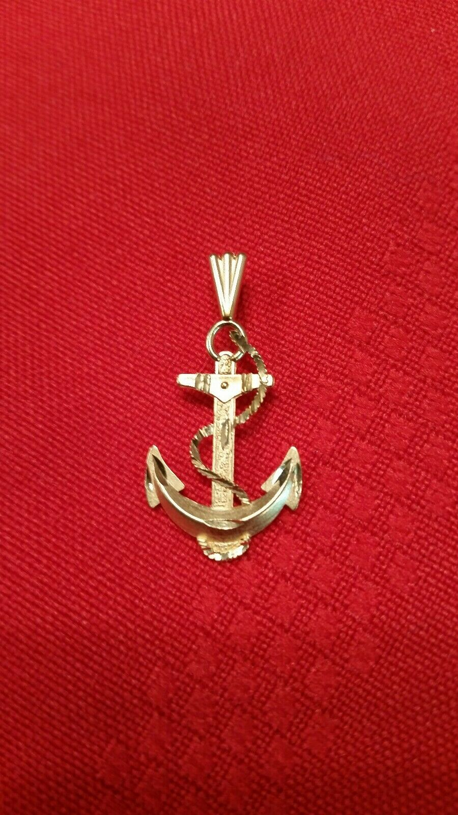 14K solid yellow gold anchor pendant 11 4  tall × 5 8 w, 1 4  bale, 1.5 g