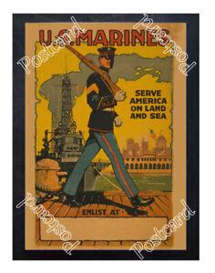 Historic-WWI-Recrutiment-Poster-U-S-Marines-serve-America-Postcard