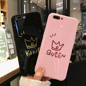 Glossy-Crown-KING-QUEEN-Letter-Phone-Case-For-iPhone-X-8-7-6S-Plus-Couples-Case