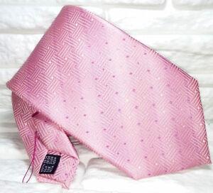 CompéTent Cravatta Uomo Rosa Geometrica Design Top Quality NovitÀ Made In Italy 100% Seta