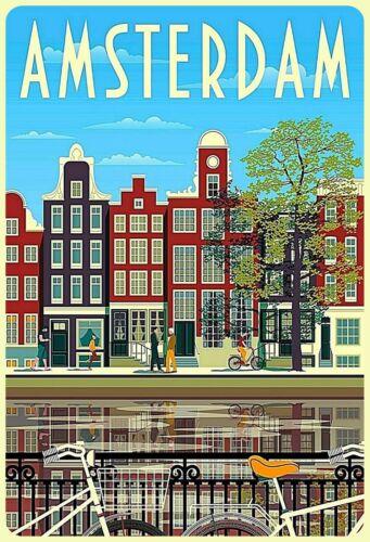 Blechschild Amsterdam Metallschild 20x30 cm Wanddeko tin sign