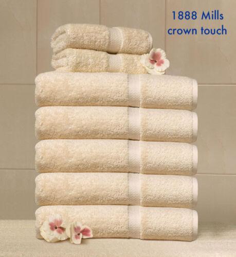 2 new beige 1888 mills crown touch 27x54 premium hotel spa resort bath towels