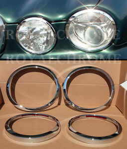 FAST-EMS-x4-ROYAL-CHROME-HEADLIGHT-SURROUNDS-for-JAGUAR-XJ-03-09-X350-X358-XJR