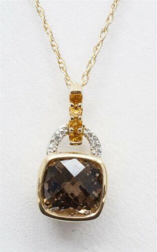 14K Yellow Gold Dainty Pendant Necklace Smoky Quar