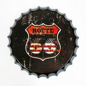 Plaque en métal rétro Bouchon de bouteille capsule route 66  35cm