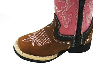 Kids Genuine Western Cowboy Side Zipper Leather Quality Boots