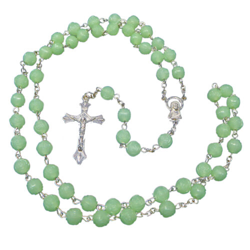 Luminous plastic rose flower rosary beads 57cm length our lady glow in dark
