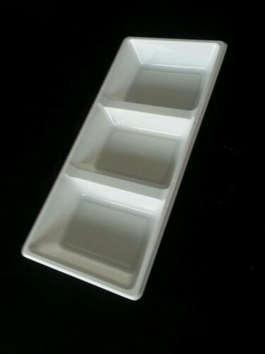 4 x white plastic serving platter 3 section tray  for serving shering 39 x18 cm