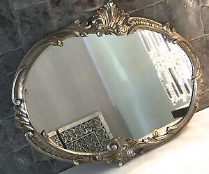 Specchio a parete barocco ovale argento antico 52x42 sfarzoso vintage retr specchio c17 ebay - Specchio barocco argento ...