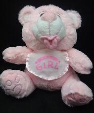 "Baby Girl Pink Teddy Bear White Bib Pacifier Plush 7"" Balloons Amen Choice Toy"