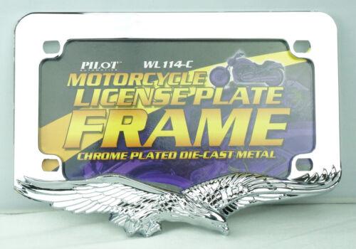 3D EAGLE CHROME METAL MOTORCYCLE LICENSE PLATE FRAME YAMAHA HONDA SUZUKI