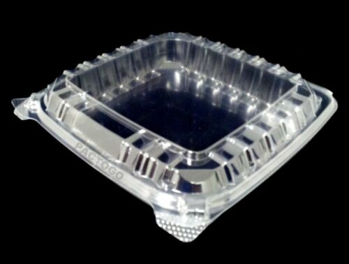 Dart 8 x 8 Medium Shallow Clear Hinged Plastic Food Bakery Take-Out Container