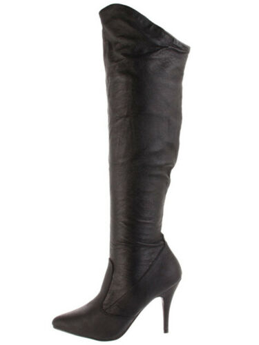 Pleaser Vanity-2013 Damen High Heels Stiefel schwarz Lederoptik Übergröße 37-45