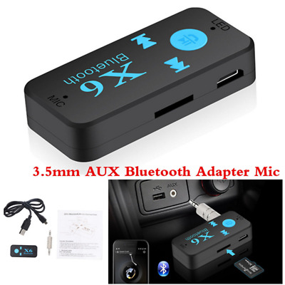 3.5mm Wireless Bluetooth AUX Audio Stereo Music Car Receiver Adapter + Mic Black