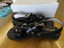 1970-80s ASPEN Leather Black Sandals, Fabulously Nice Look for Men, 8's