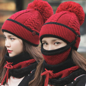 1ba85f8ca Details about Winter Women Ladies Wooly Knit Hat And Scarf Set Knitted  Woollen Beanie Ski Cap.