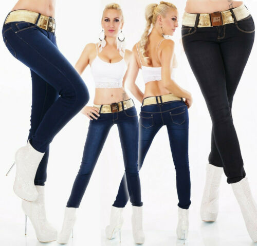 Jeans Damen Skinny Jeans Jeanshose mit Gürtel