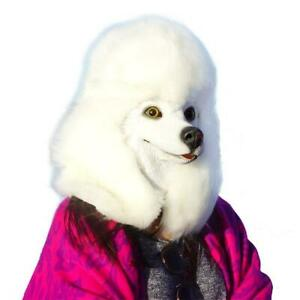 Fancy Dress Halloween Poodle White Head Mask Latex Dog Cosplay Party Costume