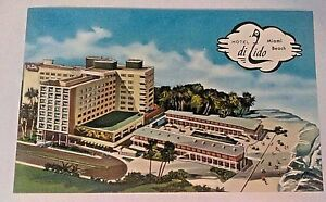 Image Is Loading Vintage Linen 1950s Hotel Di Lido Miami Beach