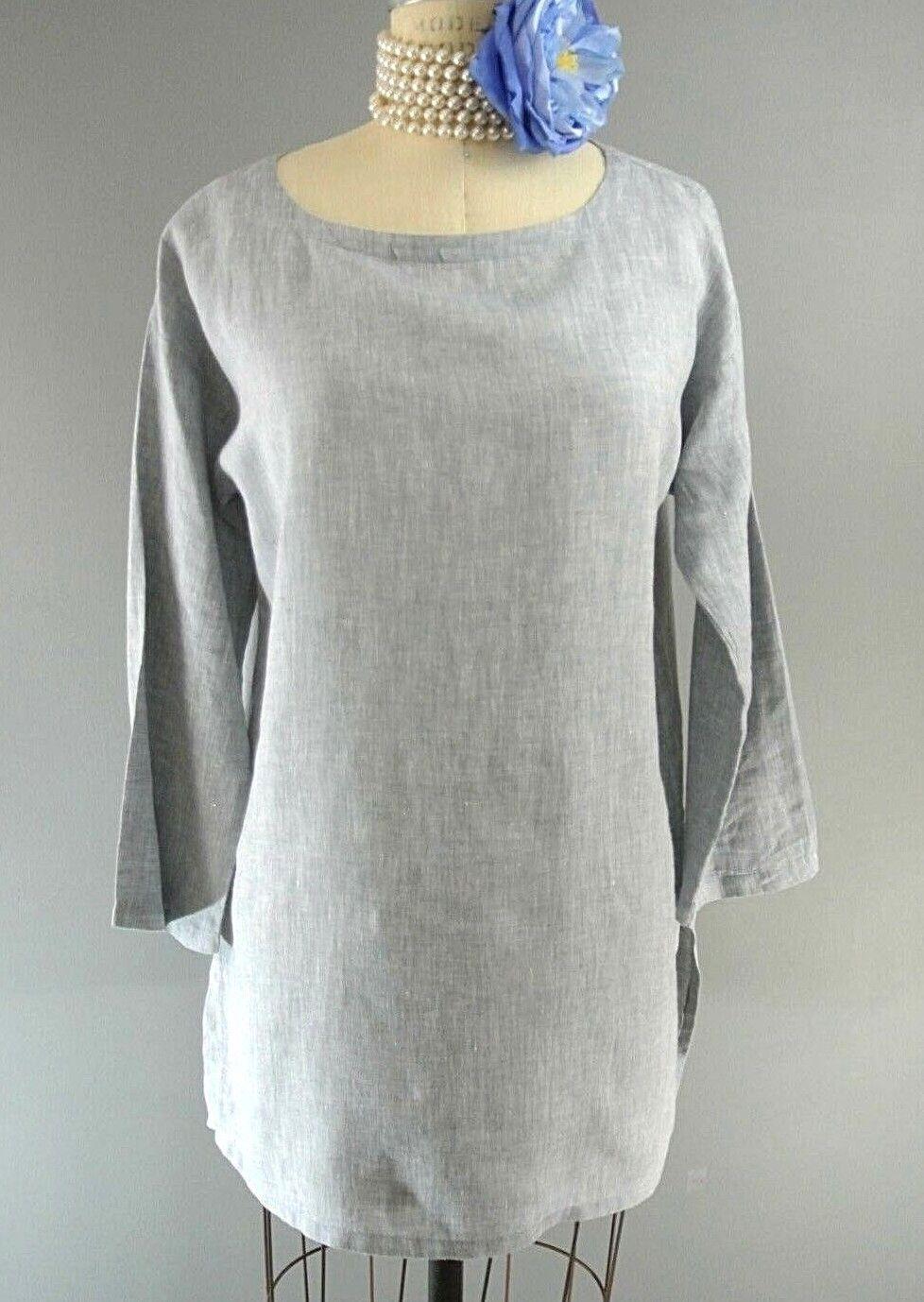 Eileen Fisher Organic Linen Long Sleeve Blouse Petite M P Tunic Top