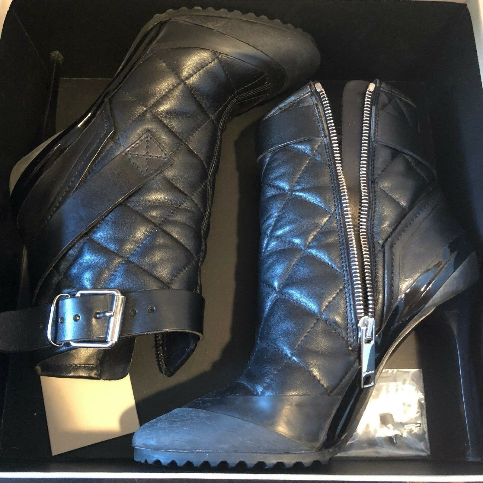 BURBERRY QUILTED BRIT BRIT BRIT BLACK LEATHER ANKLE SHOES BOOTS BOOTIES  36.5   6.5 3ac666