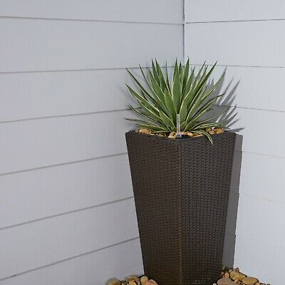 Hatteras Thin Square Wicker Smart Self-Watering Planter in Light Brown