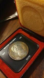 1971 Canadian silver Commemorative British Columbia Dollar.