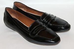BANANA REPUBLIC Black Patent Leather ANYAH Penny Loafers ...
