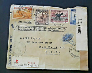 1942-Coquilhatville-Belgian-Congo-To-New-York-NY-Censorship-Airmail-Cover