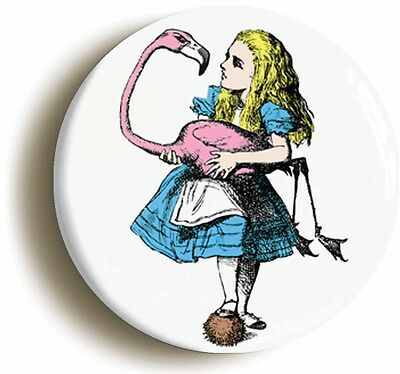 ALICE IN WONDERLAND BADGE BUTTON PIN FLAMINGO (size is 1inch/25mm diameter)