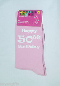Happy 50th Birthday Printed Design Ladies Pink Socks Great 50th Birthday Gift