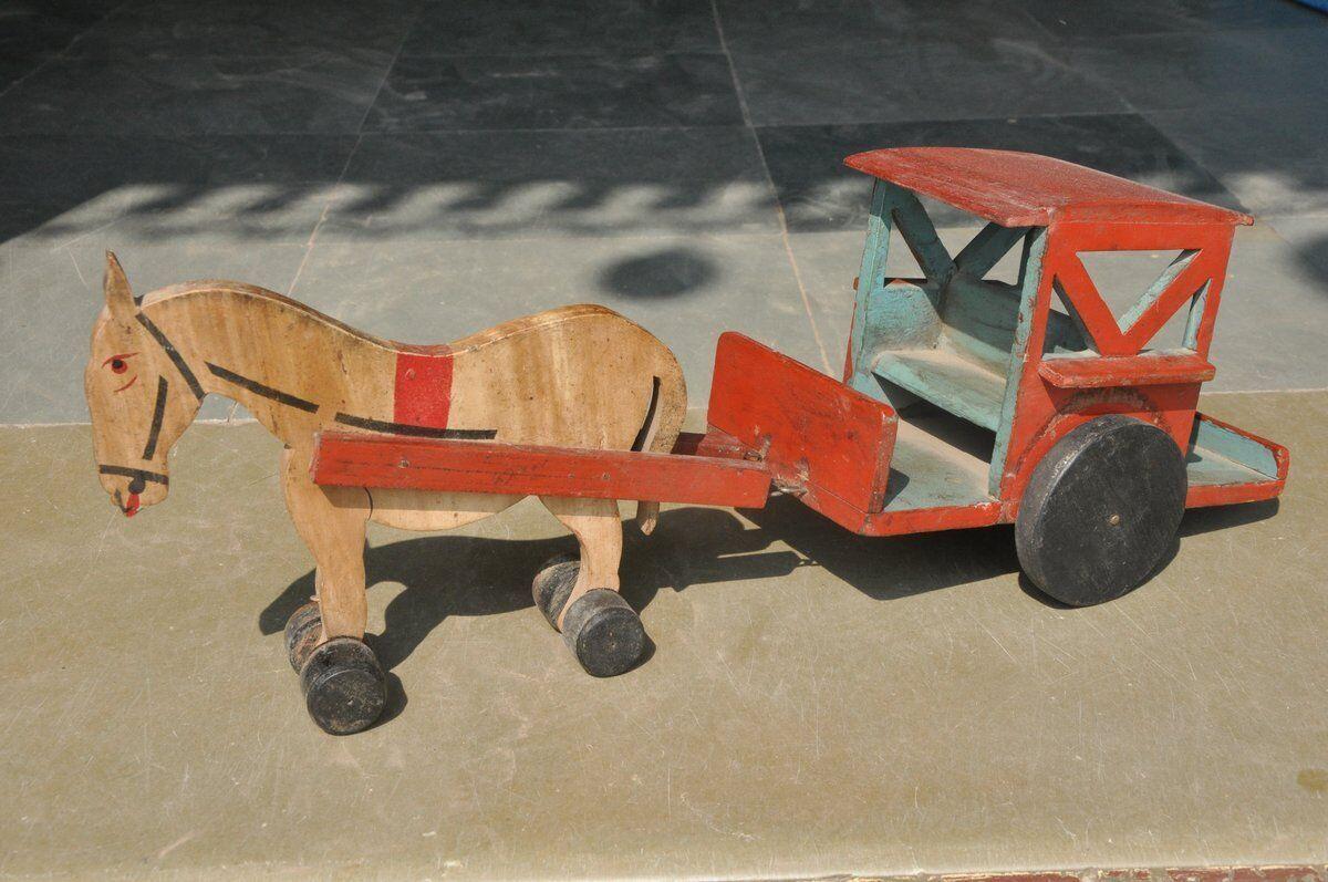 Antiguo De Madera Artesanal Pintado Tonga   Caballo De Carro De Juguete   Modelo