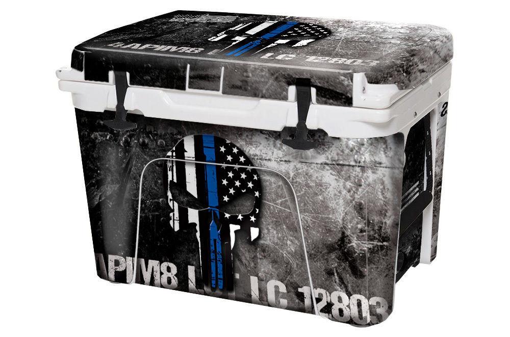 USATuff Custom Cooler Wrap fits YETI Tundra 125qt FULL USA Ammo Skull Bl Lne