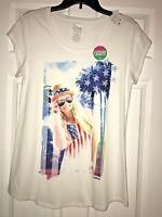 Girls Justice Size 20 Short Sleeve (longer Length) White W/red & Blue Top