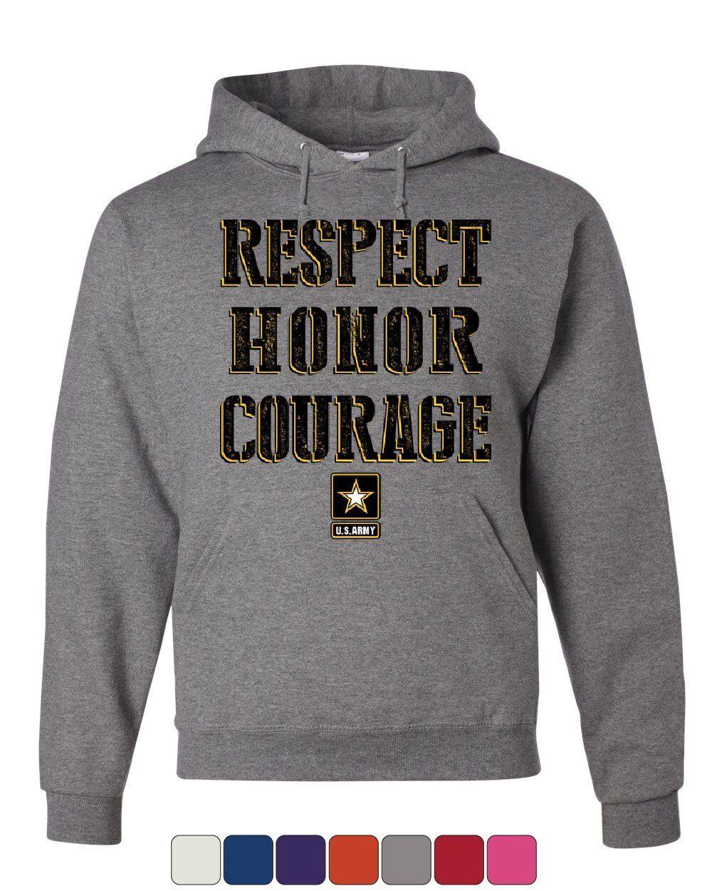 United States Army Hoodie Respect Honor Courage U. S. Military Sweatshirt