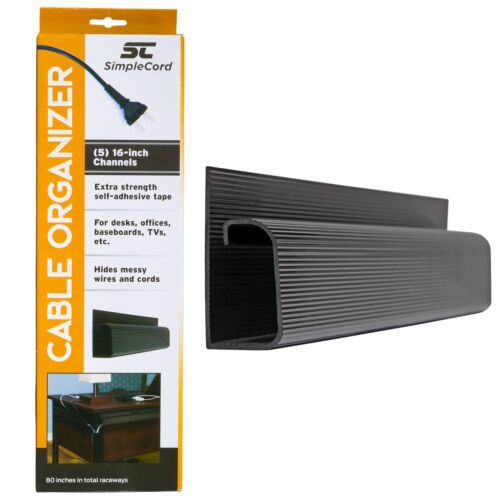 Cord Cov... J Channel Cable Organizer by SimpleCord 5 Black Raceway Channels