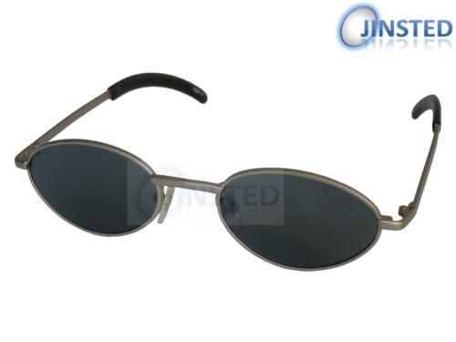 Lunettes de soleil de haute qualité Foncé Teinté Ovale Lentille Avec Cadre Argenté UV400 CL015